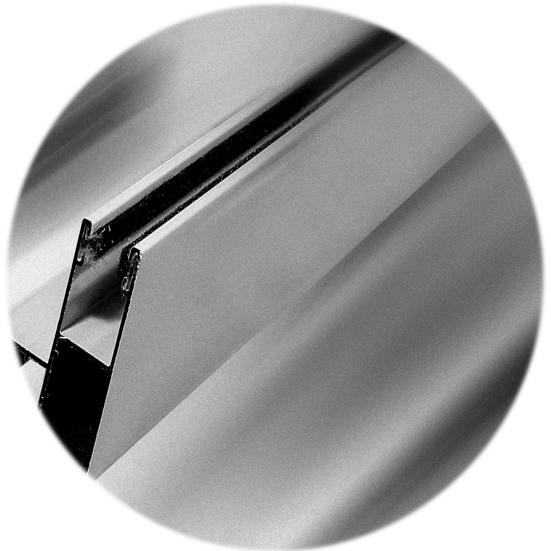 Guia de Aluminio normal o abatible de 4.5 milimetros. Foto decorativa en blanco y negro, con dos felpas
